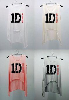 1D ONE DIRECTION Pink T Shirts Tank Top Tunic Blouse high waist women handmade silk screen printing