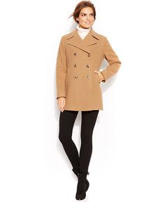 Kenneth Cole Reaction Double-Breasted Wool-Blend Pea Coat - Coats - Women - Macy's