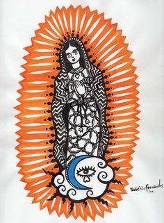 LUPITA PROTETORA  Nossa Senhora de Guadalupe, protetora de toda a América Latina    Formato:85×115cm  Técnica: Aquarela ecoline  Superfície: arches 300g