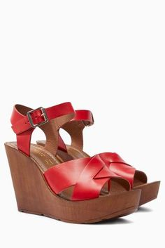 Buy Leather Cross Strap Wedges online today at Next: United States of America