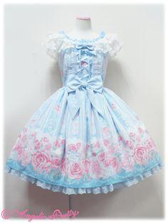 Angelic Pretty Romantic Rose Letter JSK /// ¥28,140 /// Bust: 88~102 cm Waist: 69~82 cm Length: 88 cm + 1 cm lace Shoulder Width: 34 cm