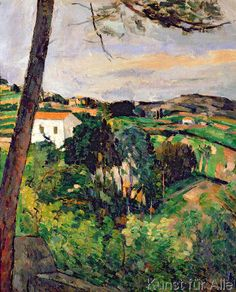 Paul Cézanne - Landscape with red roof or The pine at the Estaque, 1875-76
