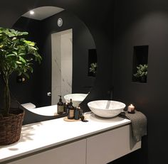 From traditional to modern, discover the top 60 best black bathroom ideas. Explore dark themed interior designs for your home. Black Marble Bathroom, Dark Gray Bathroom, Black White Bathrooms, Dark Bathrooms, Black Bathroom Decor, Bad Inspiration, Bathroom Inspiration, Bathroom Ideas, Basement Bathroom