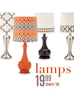 Gordmans Table Lamps: Thinking about buying one of these lamps and painting it red.,Lighting