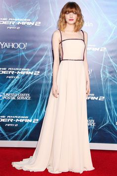 Emma Stone - For the New York premiere of The Amazing Spider-Man 2 she wore a full-length nude Prada gown.
