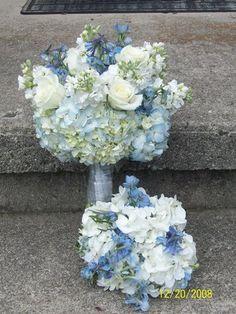 Flowers, White, Blue, Bouquet, Bridesmaids, Brides