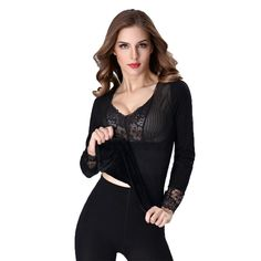Sexy Lace Thermal Underwear Women Winter Ladies Seamless Body Shaping Tops