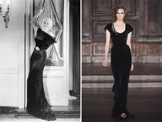 Bias Cut Gowns — L'Wren Scott's sumptuous raven dress is carefully cut on the bias. This clothing construction technique was the sweetheart of 1930s style, as seen in this photo of Loretta Young.