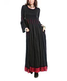 Loving this Black & Burgundy Contrast Maxi Dress on #zulily! #zulilyfinds