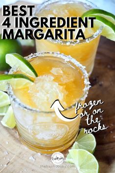 Simple 4 Ingredient Margaritas (Regular or Frozen) Easy 4 ingredient margaritas are the best, this recipe will knock your socks off. Place in your freezer for frozen margaritas or pour over ice! Recipe via Classic Cocktails, Fun Cocktails, Summer Drinks, Fun Drinks, Cocktail Drinks, Liquor Drinks, Summer Drink Recipes, Bourbon Drinks, Party Drinks