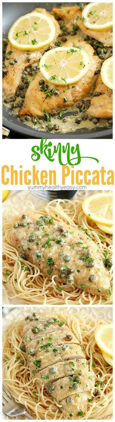 This Chicken Piccata Recipe is lighter (aka skinny) and is so easy to make! Perfect on a busy weeknight but also fancy enough to make when you have company over! It's made in only one pan and is bursting with lemony, buttery, creamy flavor. So much flavor in every bite of tender chicken!