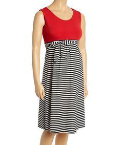 Love this Black & Red Tie-Waist Maternity Dress - Plus Too on #zulily! #zulilyfinds