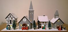 LED Wooden Christmas Village Church House Scene 38cm - Hand Painted - Lights On