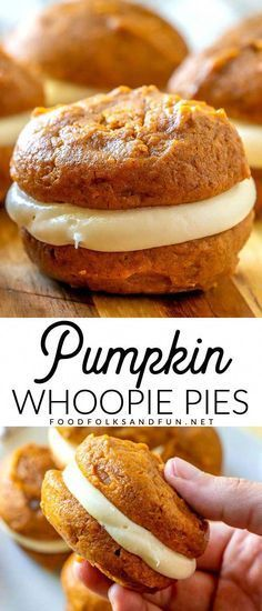 The classic New England dessert gets an update with pumpkin, spices, and maple! Pumpkin Whoopie Pies with Maple Cream Cheese Frosting perfect fall dessert! Fall Recipes, Fall Dessert Recipes, Fall Desserts, Sweet Recipes, Holiday Recipes, Delicious Desserts, Recipes With Pumpkin, Recipes Dinner, Pumpkin Baking Recipes