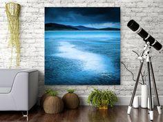 Large Dramatic Art - modern wall art - Moody Blue loft art  - deserted Scottish beach - oversized hipster modern art - READY TO HANG