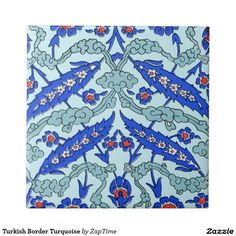 Turkish Border Turquoise Small Square Tile