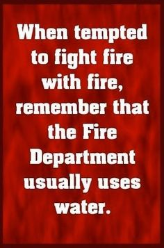 """When tempted to fight fire with fire, remember that the Fire Department usually uses water."""