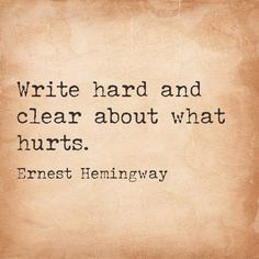 write hard and clear about what hurts - Cerca con Google