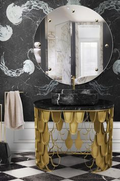 Koi single washbasin is the definition of artisanship itself. It features a patterned aged brass body. It features a large and squared Nero Marquina marble sink, also available in white Estremoz, Carrara, Guatemala or Emperador marble. It is the perfect piece of design for a bold decoration in a luxury bathroom.