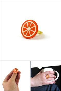 Orange slice ring, tangerine slice ring, clementine slice ring, gourmand round fancy ring, plastic fruit ring (recycled CD) - Made on order by @savousepate on Etsy - pinned by pin4etsy.com