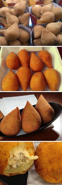 Muslitos de POLLO rellenos express; o coxinha de frango: receta brasileña, listos en menos de 1 hora! #muslitos #coxinha #recetabrasileña #pollo #gratinados #patate #papas #batata #frita #receta #recipe #casero #torta #tartas #pastel #nestlecocina #bizcocho #bizcochuelo #tasty #cocina #chocolate #pan #panes Si te gusta dinos HOLA y dale a Me Gusta MIREN… Mexican Food Recipes, Snack Recipes, Cooking Recipes, Snacks, How To Cook Meatballs, Salty Foods, Appetizer Salads, Crazy Cakes, Cooking Turkey