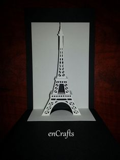 Eiffel Tower Origamic Architecture Pop Up Card by enCrafts on Etsy, $6.00