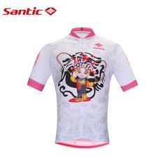 Santic Peking Opera Cycling Jerseys PRO Girl Cycling Clothes Breathable MTB Road Bicycle Shirt Tops Maillot Cyclisme K0602097 #Affiliate