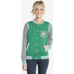 Harry Potter Slytherin Womens Varsity Jacket (€48) ❤ liked on Polyvore featuring outerwear, jackets, green letterman jacket, college jacket, varsity style jacket, varsity bomber jacket and teddy jacket