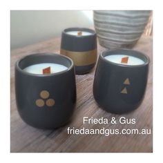 Keep an eye out for these classy gold/slate grey woodwicks in our Facebook sale tonight starting at 8pm. These can be used as a coffee or tea mug when your candle is finished emojiemoji #friedaandgus #woodwick #gold #grey #soycandle #Geelong