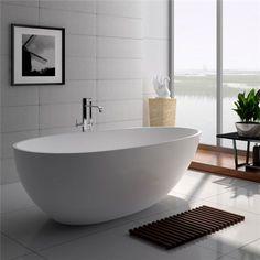 Legion Furniture White Matt Solid Surface Tub - No Faucet - Stone Bathtub, Small Bathtub, Freestanding Bathtub, Solid Surface, Surface Finish, Blue Space, Soaking Bathtubs, Industrial Bathroom, Grey Bathrooms