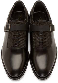 f8c03e5856fe Alexander McQueen Black Leather Monkstrap Oxfords Кожаные Каблуки, Черная  Кожа, Туфли, Лоферы,