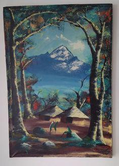 Vintage Folk Art African Oil Painting on Canvas Village Scene Artist Signed #Impressionism