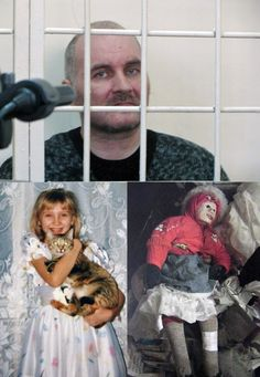 Anatoly Moskvin(pictured above), 47, ransacked graveyards and kept dozens of corpses of young girls in his bedroom in the flat where he lived with his mother and father. He dressed the dead children to make them look like dolls, even applying lipstick and make-up to their faces, and putting music boxes inside their rib cages. Following his arrest, the grave-robber, told the parents of his victim accusingly: 'You abandoned your girls in the cold - and I brought them home and warmed them up.