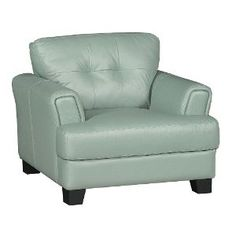 C971CA561SEAFOAMCH Contemporary Seafoam Green Leather Chair - District