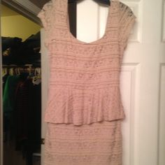Peach colored Laced Peplin short dress Size XL Peplin with lace style dress. The designer is Love Reign from JC Penny's. I wore the dress one time for mu jobs Xmas party last year. I am 5'3 and the dress comes down to my knees. Dresses