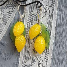 Lemon statement lampwork earrings glass lemon by KatyaGlass