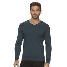 Men's Marc Anthony Slim-Fit Solid Cashmere-Blend V-Neck Sweater, Size: XXL, Turquoise/Blue (Turq/Aqua)