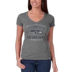 Seattle Seahawks Super Bowl Champs XLVII 47 Brand Grey Womens V-Neck T-Shirt