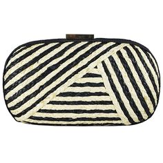 Audrey Clutch-Made with braided straw in classic black and white colors, the Audrey clutch is perfect for carrying just your essentials. It fits your smart phone and comes with a drop-in chain strap so you can hold it in hand or wear over your shoulder.