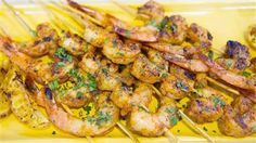 Grill some quick and easy BBQ shrimp skewers brushed with butter sauce