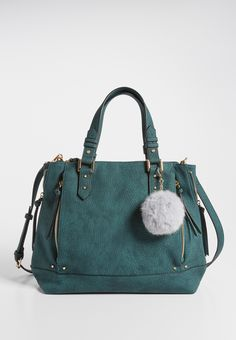 2398ce6f5d pebbled faux leather crossbody tote bag with faux fur ball handbag charm