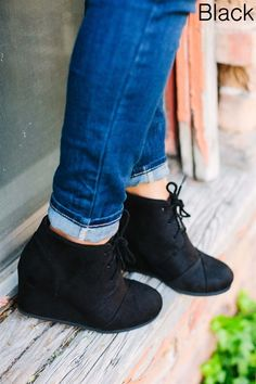 These are the MUST HAVE wedges for Fall! COLORS: Black Tan Grey Beige Burgundy Taupe Khaki These have been running TRUE TO SIZE Made with a suede material. Grey And Beige, Taupe, Fall Wedges, 2 Inch Heels, Must Haves, Oxford Shoes, Burgundy, Boots