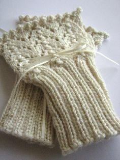 Easy knitting pattern for beautiful horseshoe lace cuffs. (pattern for sale on Etsy)