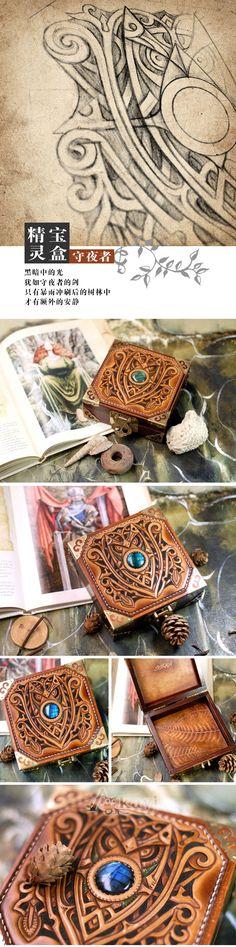 Tutorial en cuero tallado y piedra incrustada