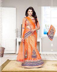 #Orange colour net and #inner #brocade material #Designer #lehenga #choli  #traditional #Indian #wear from yellowfashion.in