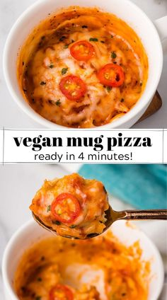 If you're craving pizza, then this vegan mug pizza is exactly what you need to dinner tonight or an afternoon snack! It's completely plant based but still delicious and cheesy tasting. Quick Easy Vegan, Easy Healthy Recipes, Quick Easy Meals, Easy Dinner Recipes, Quick Vegan Meals, Quick Snacks, Vegan Snacks, Vegan Dinners, Cheap Dinners