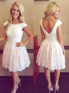 Charming Prom Dress,Lace Homecoming Dress,Short Prom Dresses,Scoop Prom