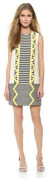 Versace Sleeveless Dress #navy #lime #yellow #versace #dress #fashion