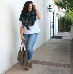 fall plaid scarf jeans bootie outfit plus size 16