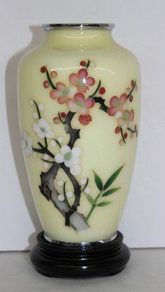 Japanese Yellow Cloisonne Vase - by Bruce Kodner Galleries